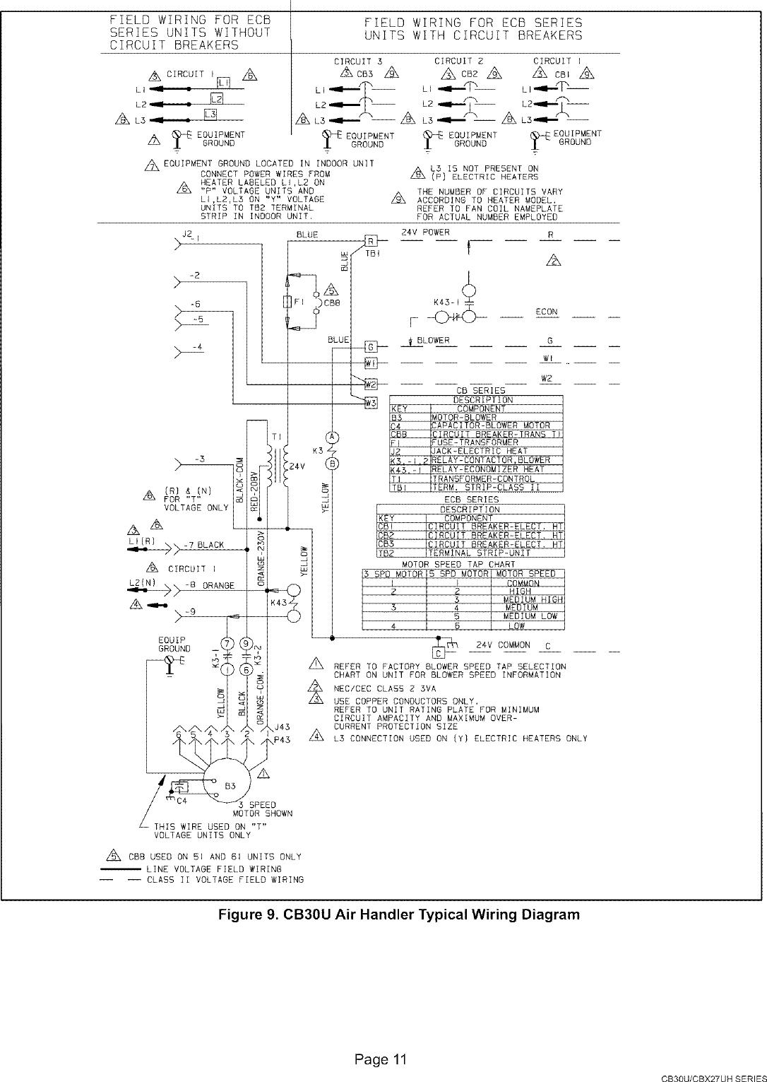 Lennox Air Handler Indoor Blowerevap Manual L0805327 Wiring Diagram Page 11 Of 12