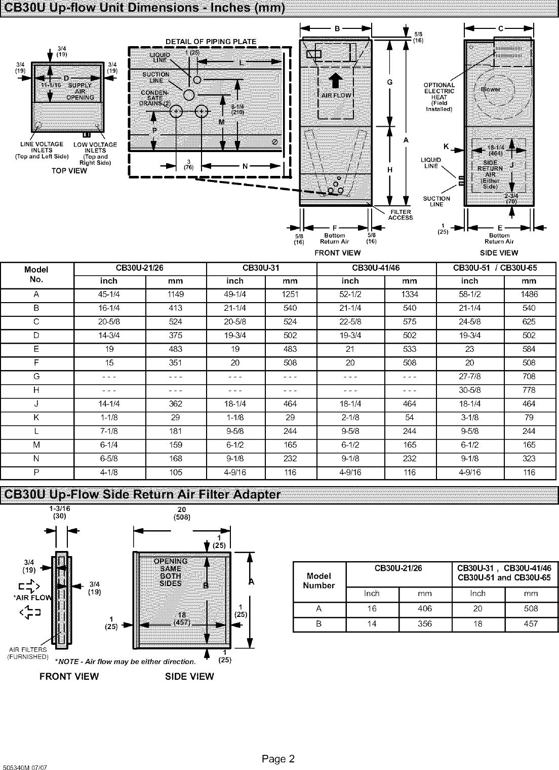 Lennox Air Handler Indoor Blowerevap Manual L0805327 Wiring Diagram Page 2 Of 12