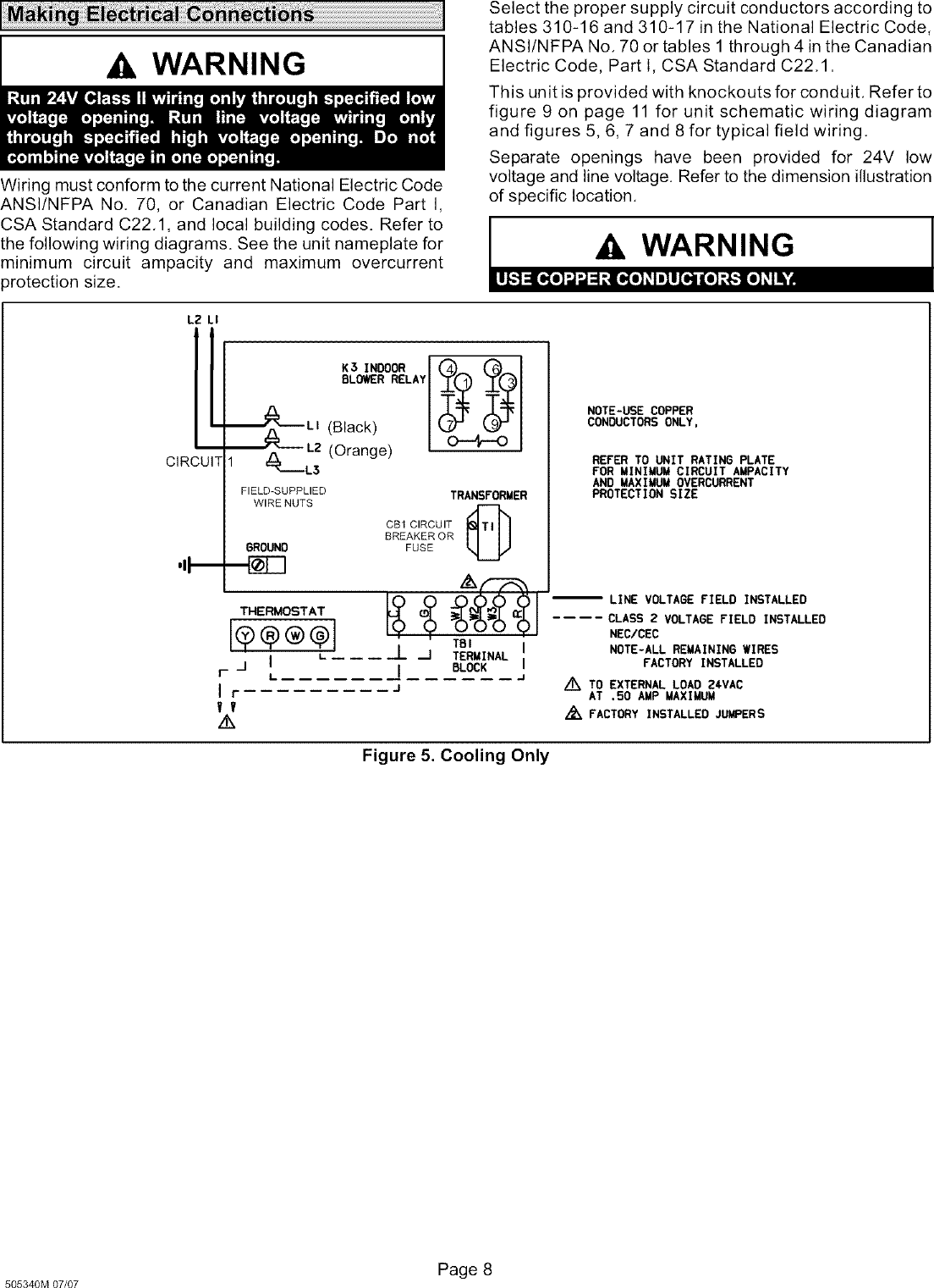 Lennox Air Handler Indoor Blowerevap Manual L0805327 Wiring Schematic Page 8 Of 12