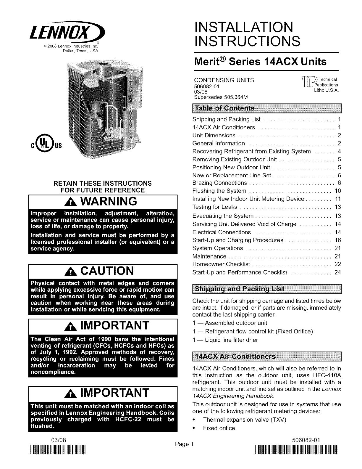 LENNOX Air Conditioner/heat Pump(outside Unit) Manual L0805455