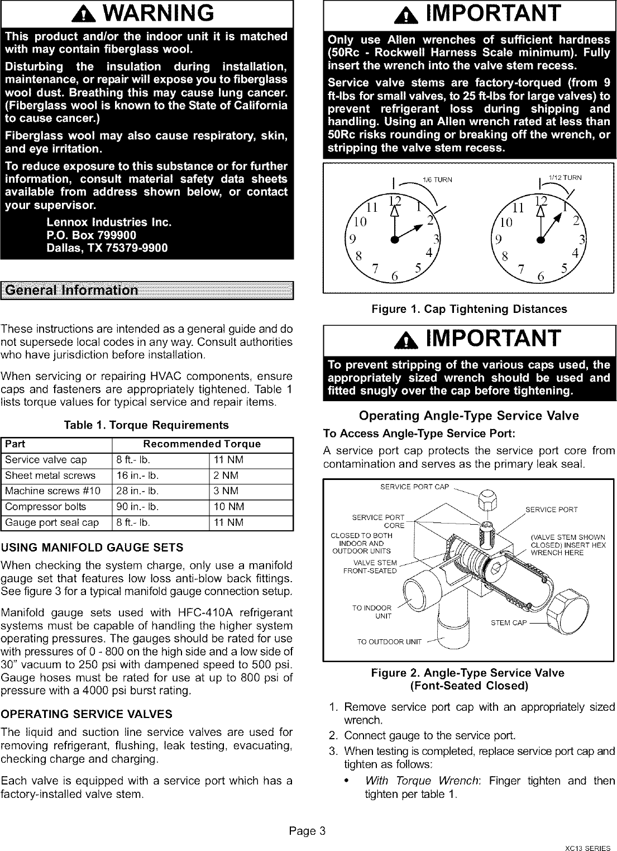 LENNOX Air Conditioner/heat Pump(outside Unit) Manual L0805492
