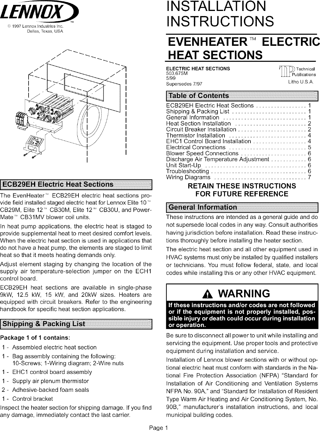 Lennox Air Handler Auxiliary Heater Kit Manual L0805584 Electrical Wiring Handbook Page 1 Of 12