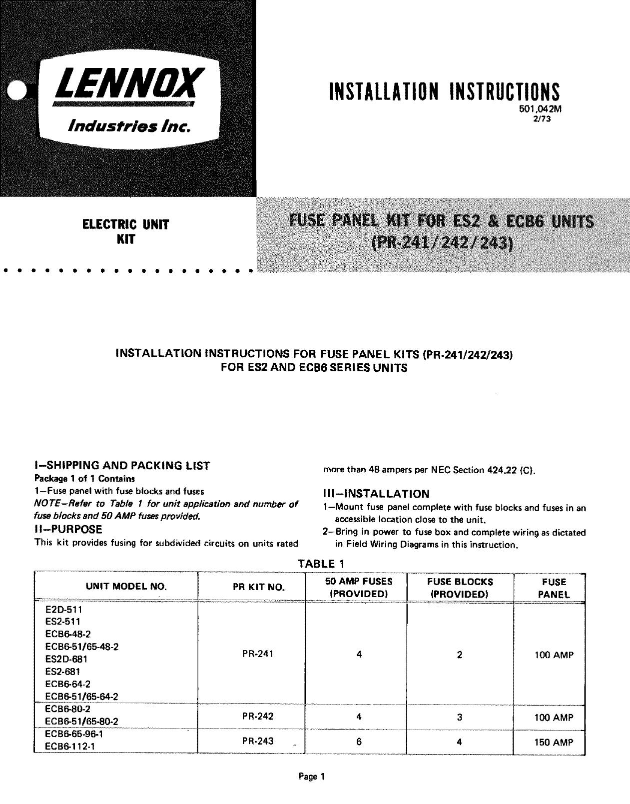 Lennox Air Handler Auxiliary Heater Kit Manual L0805596 150 Amp Fuse Box
