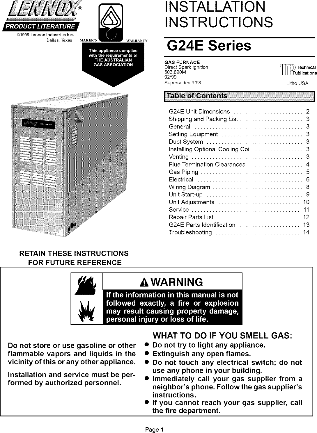 LENNOX Furnace/Heater, Gas Manual L0806144