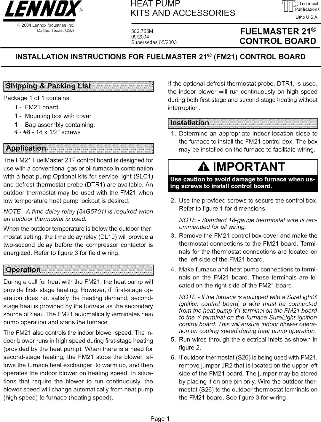 Lennox Thermostat y0349 Manual