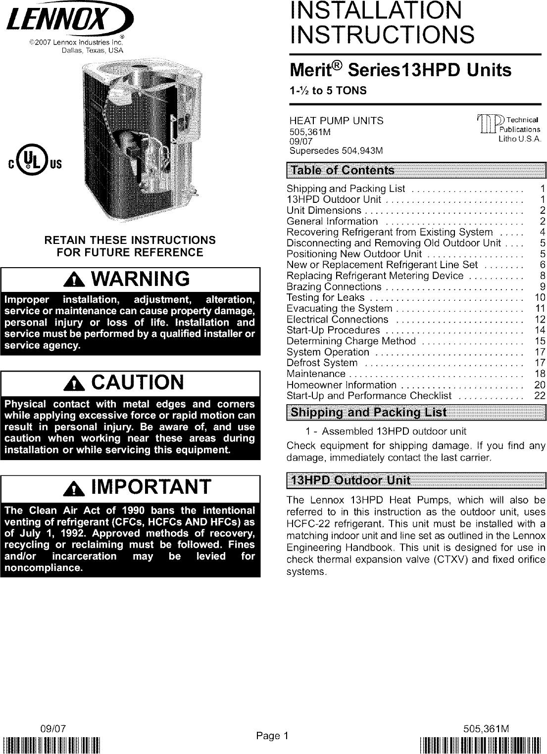 Lennox Air Conditioner Heat Pump Outside Unit Manual L0806419