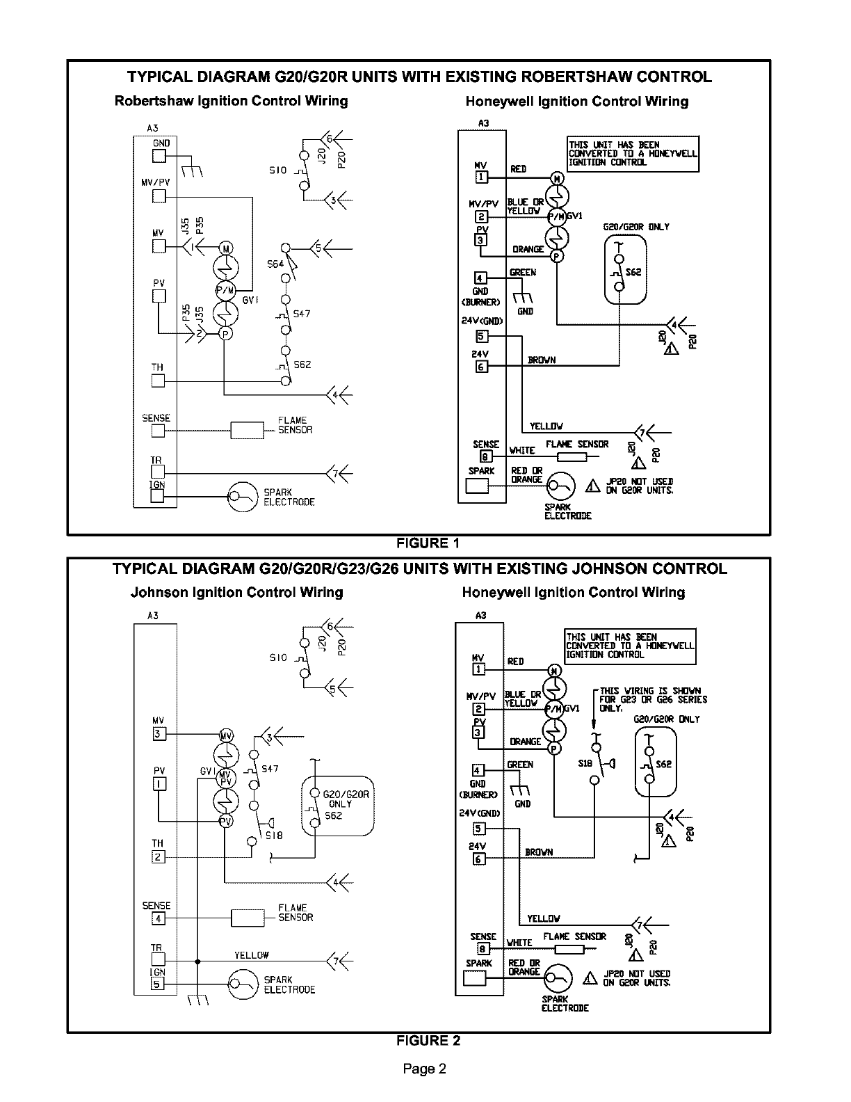 Lennox Furnace Heater Gas Manual L0806819 Johnson Controls Wiring Diagram Typical G20 G20r Units With Existing Robertshaw Control Ignition