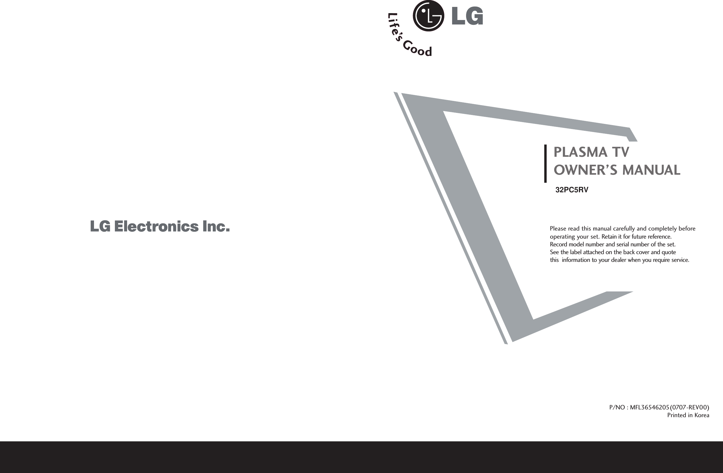 LG Electronics USA 32PC5RVUB Plasma TV/Monitor User Manual