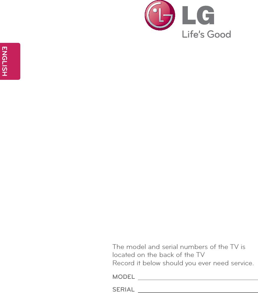 LG Electronics USA 47LMG620UG LED LCD TV Monitor User Manual