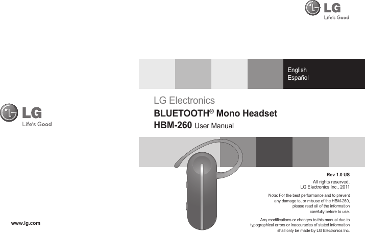 LG Electronics USA HBM260 Bluetooth Mono Headset User Manual