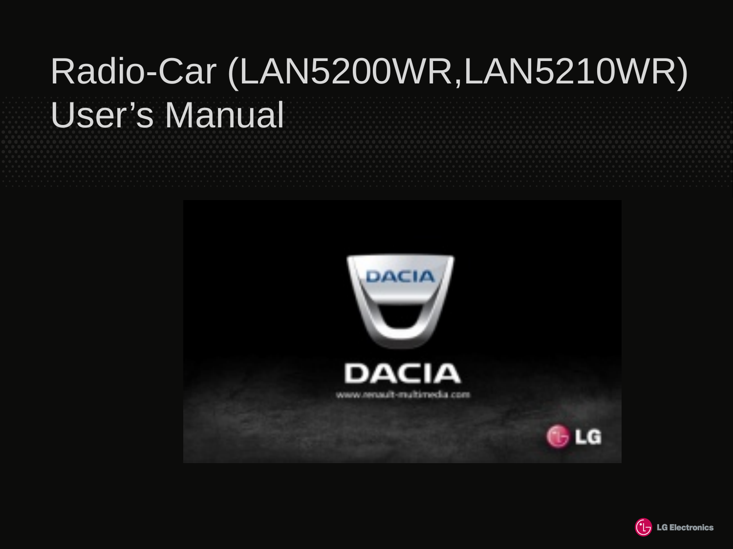 LG Electronics USA LAN5200WR Radio-Car User Manual