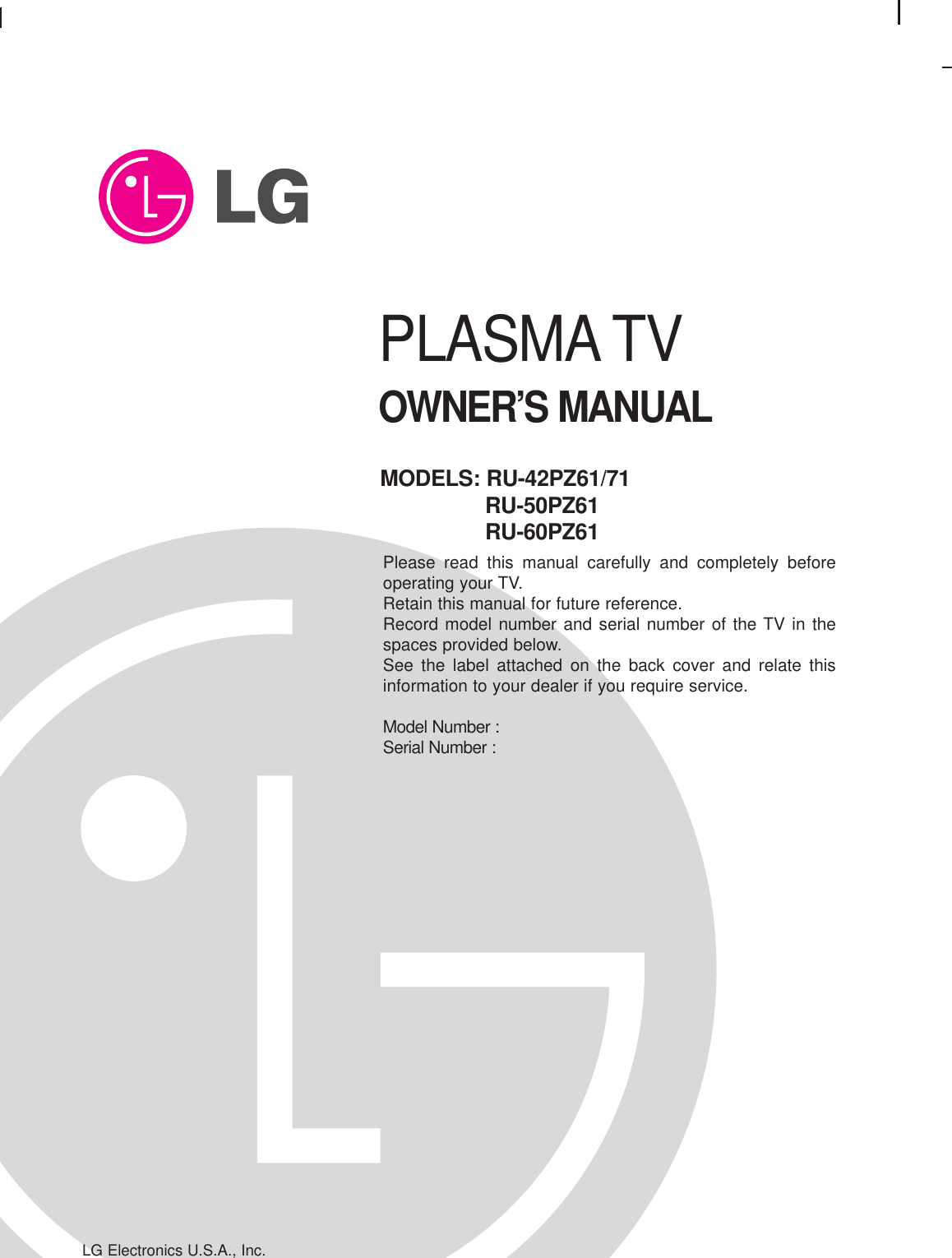 LG Electronics USA RU50PZ61 PDP Display User Manual 470Pen