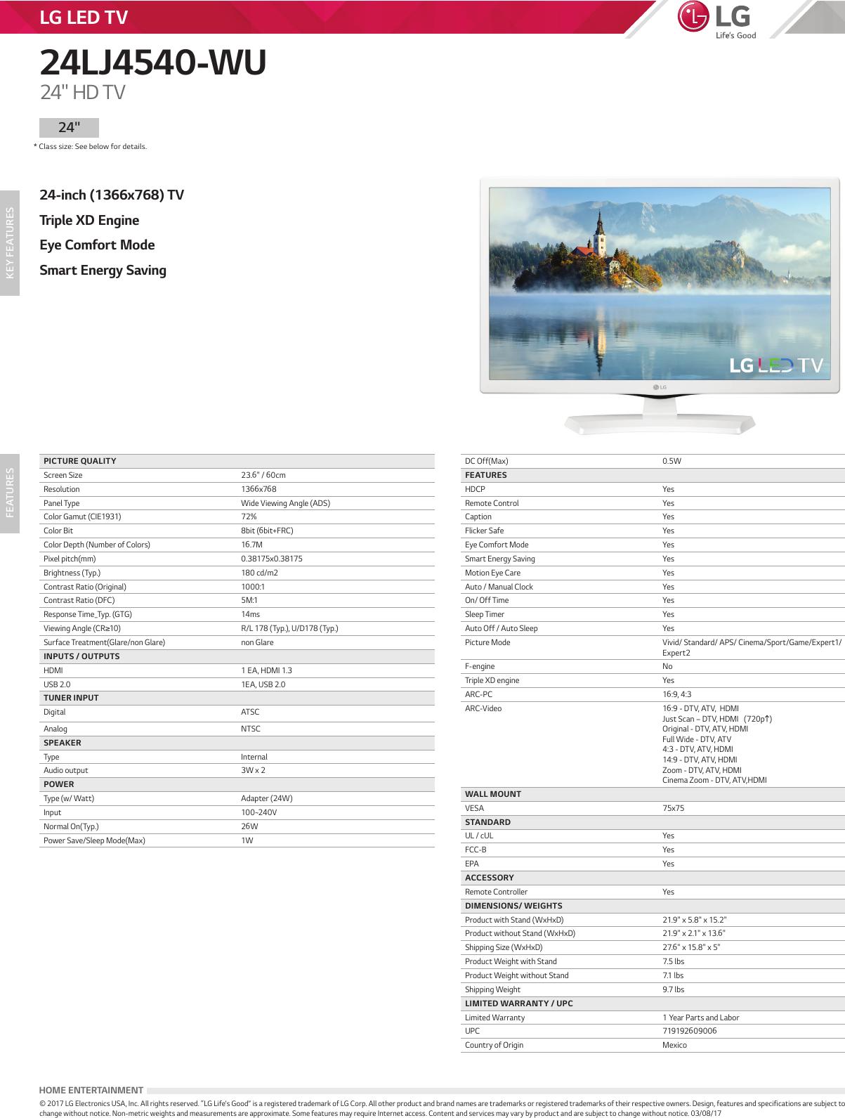 LG 24LJ4540 WU User Manual Specification Spec Sheet