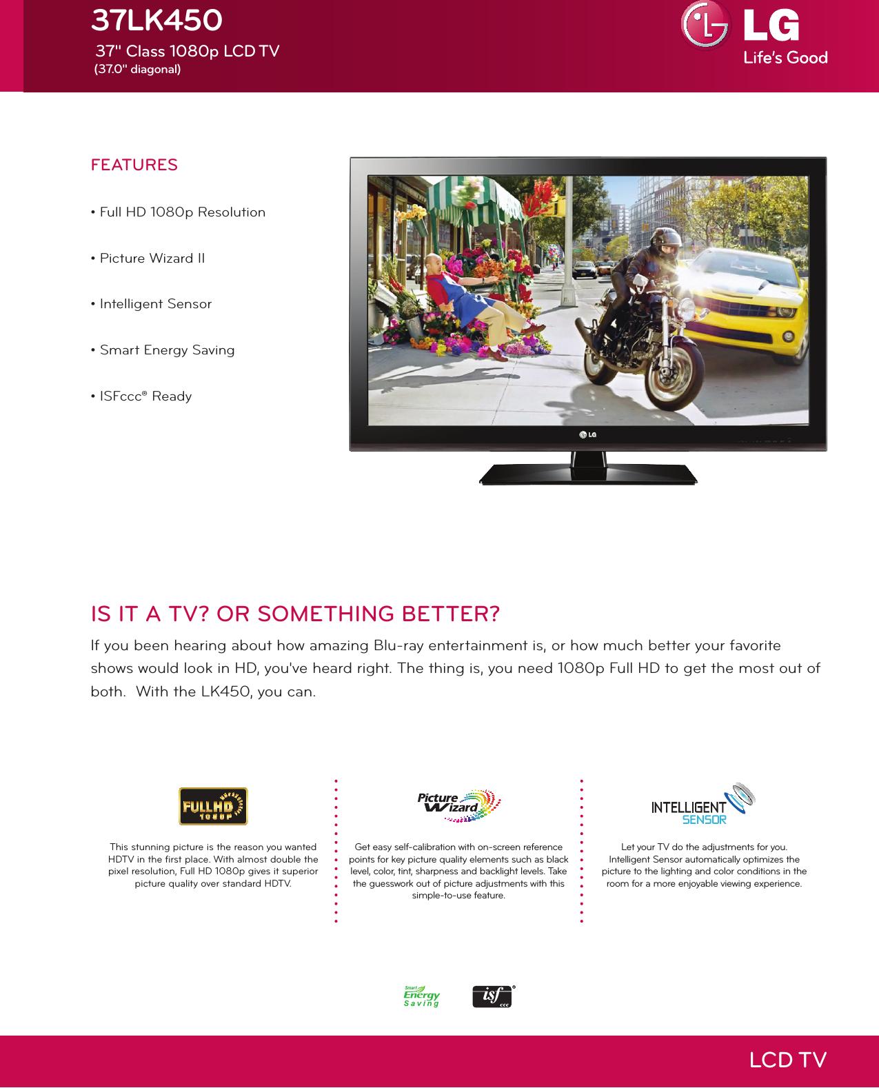 LG 37LK450 User Manual Specification LCD TV Spec Sheet