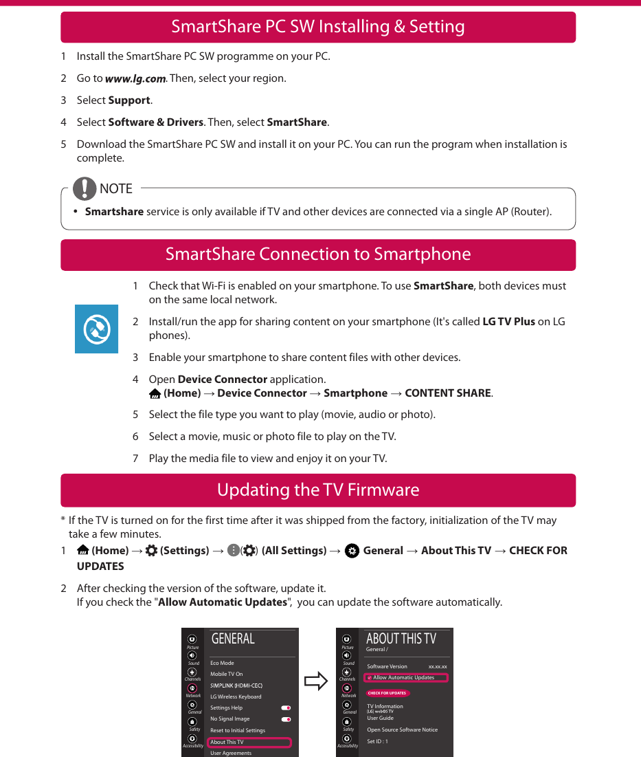 LG 43UK6300PUE User Manual Quick Setup Guide Web OS 4 0 Smart QSG