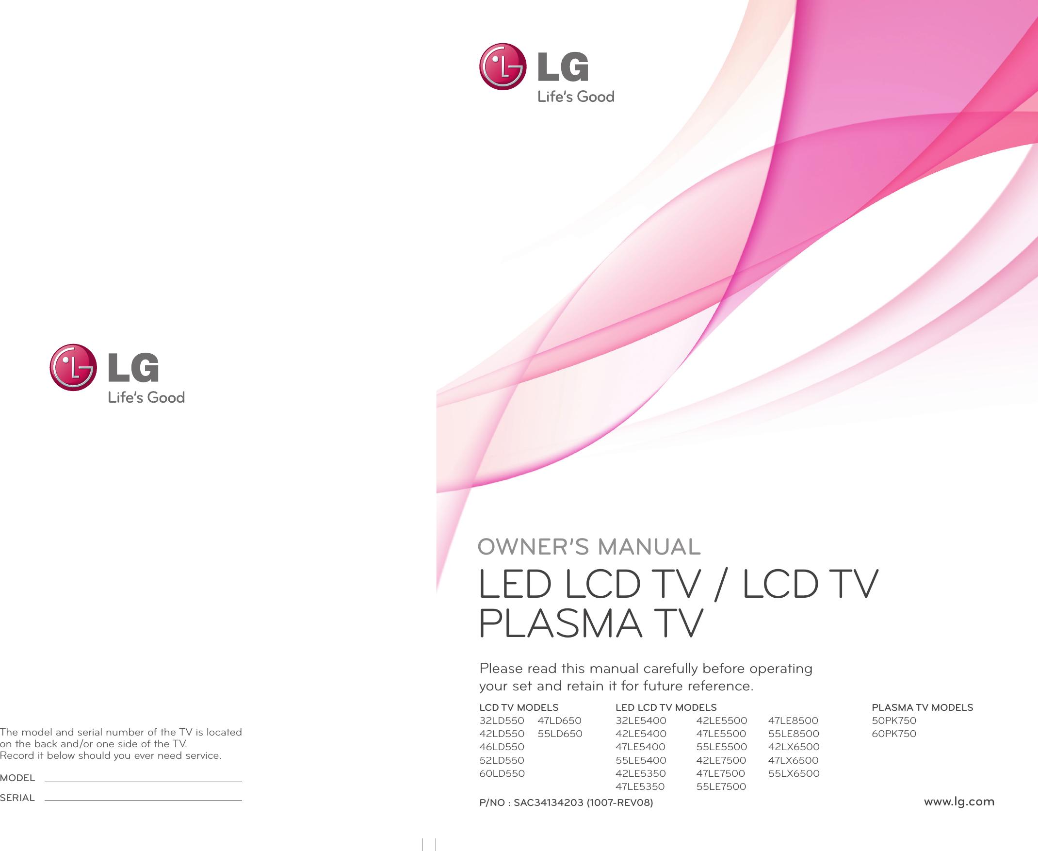 LG 47LX6500 User Manual Owner's SAC34134203 8 Eng