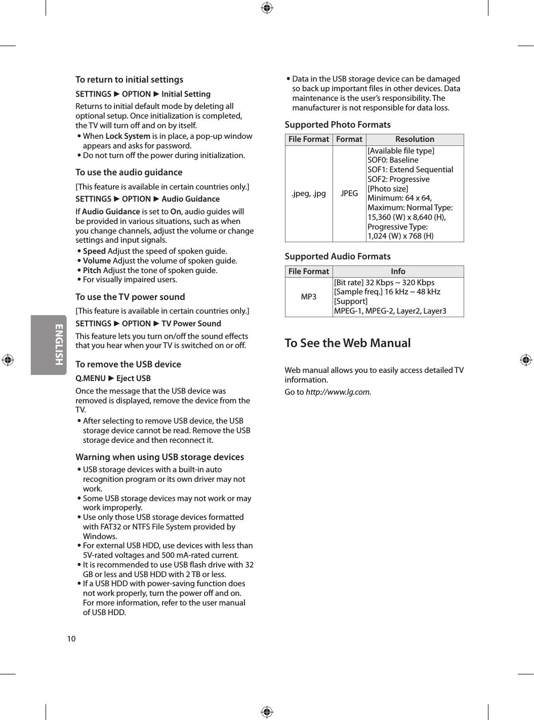 LG 49LJ510M User Manual Owner's MFL69728347 1 2 MFL69670644