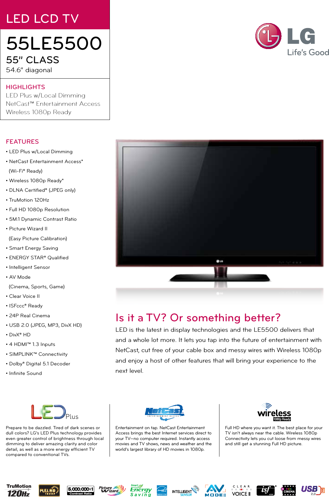 LG 55LE5500 User Manual Specification He Lcd Ss 3