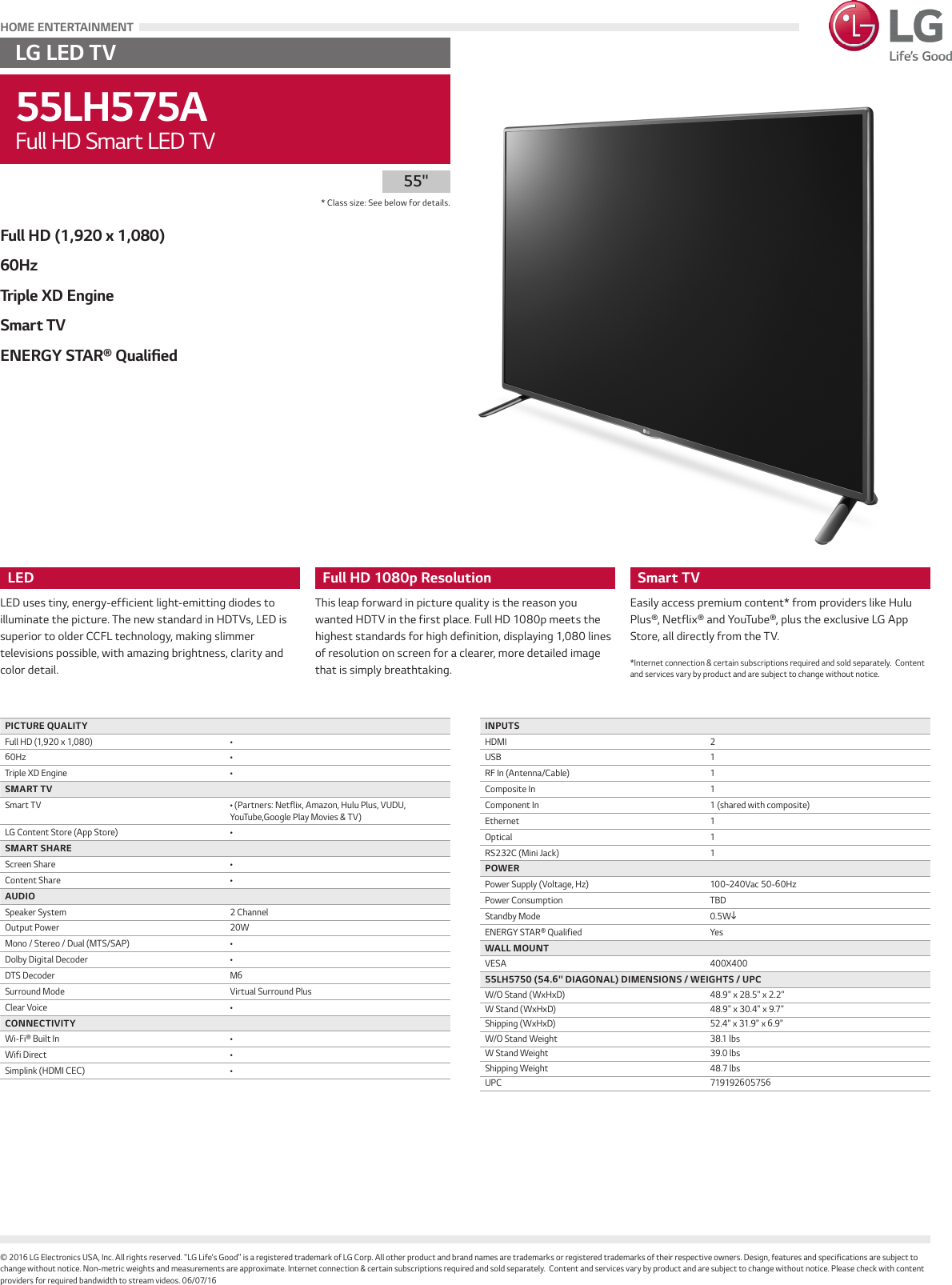 LG 55LH575A User Manual Specification Spec Sheet