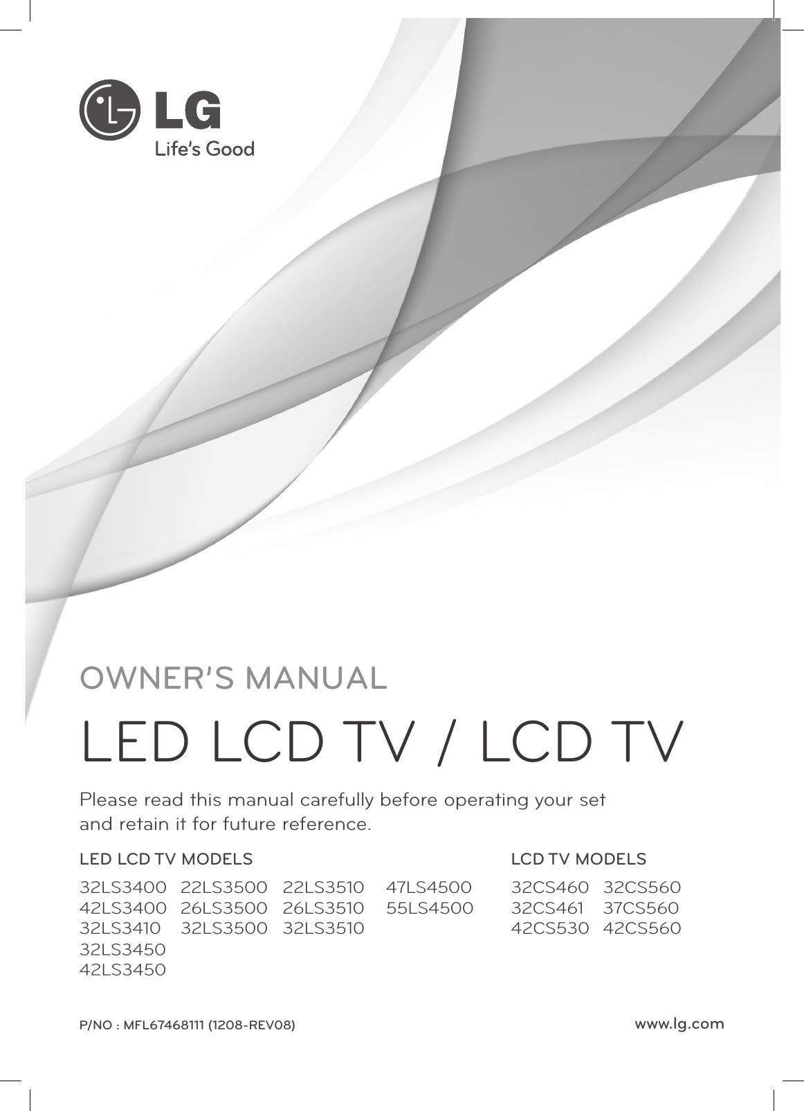 Lg 55ls4500 User Manual Owner S Mfl67468111 08 Edt