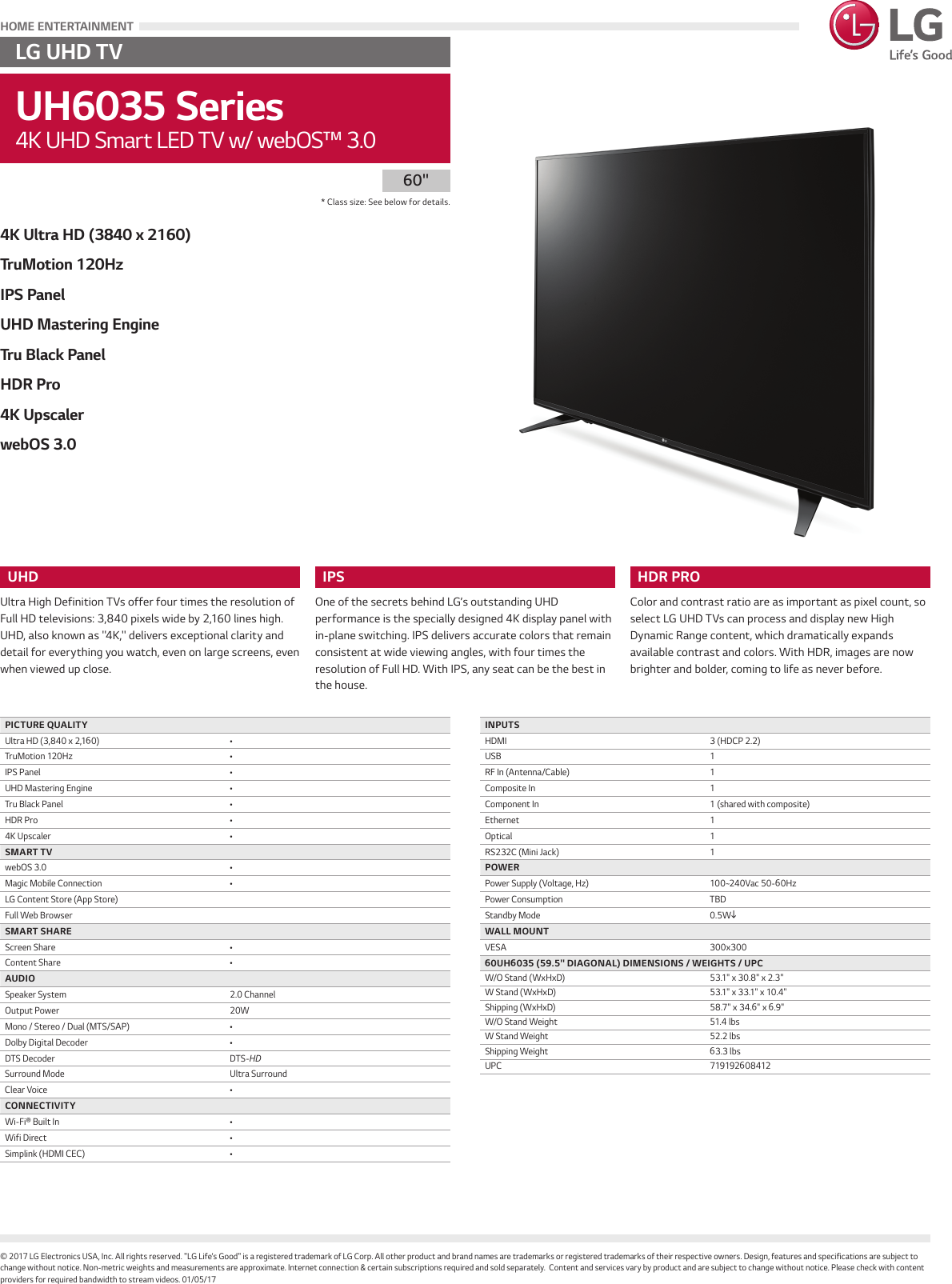 LG 60UH6035 User Manual Specification UH6035 Series Spec Sheet