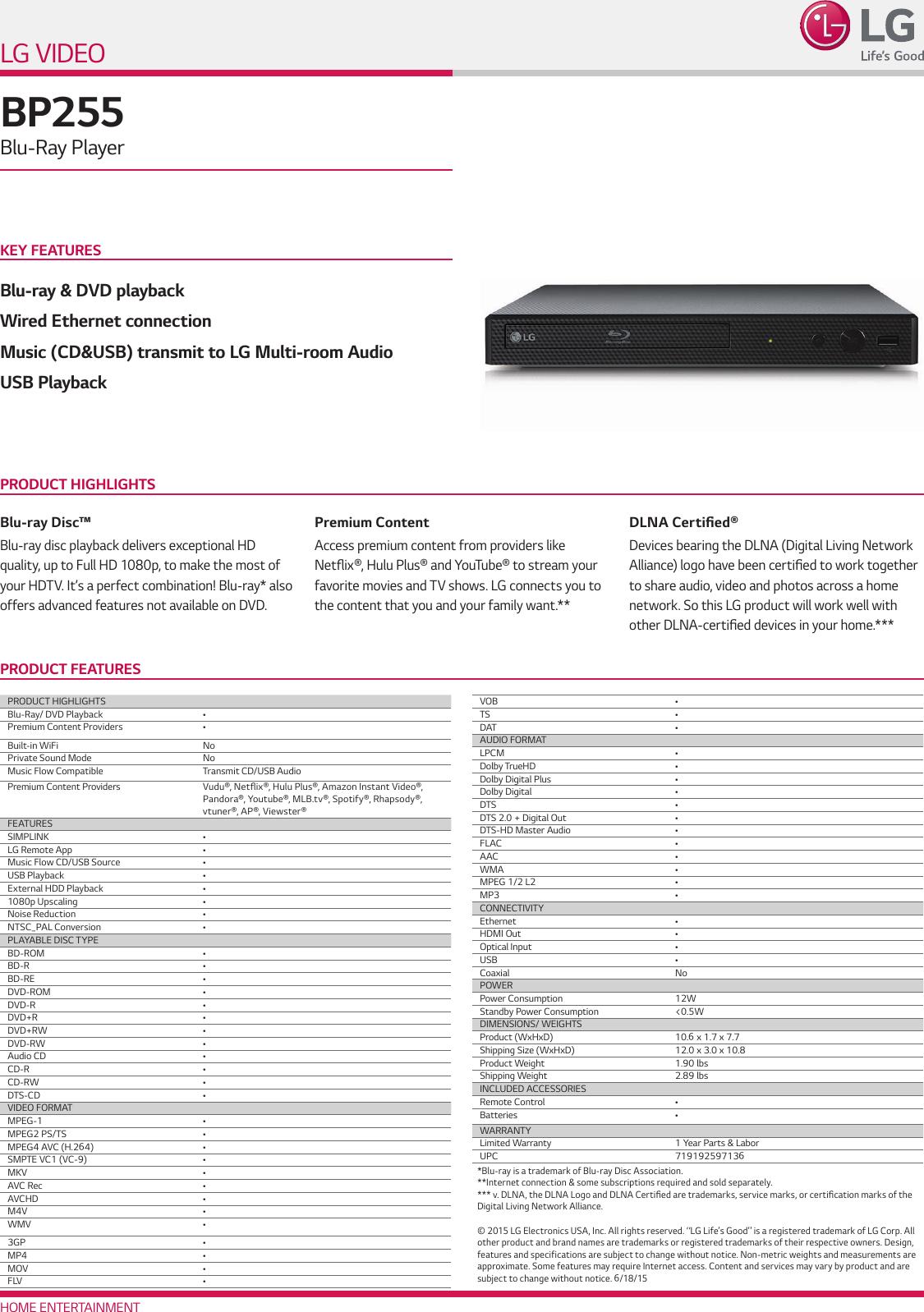 LG BP255 User Manual Specification Spec Sheet