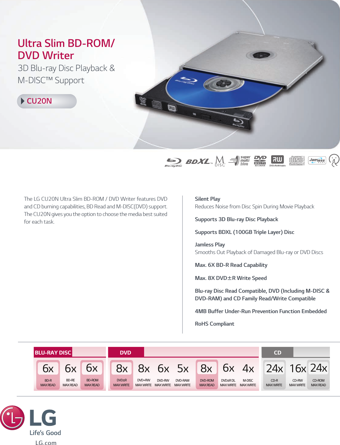 LG CU20N User Manual Specification Spec Sheet