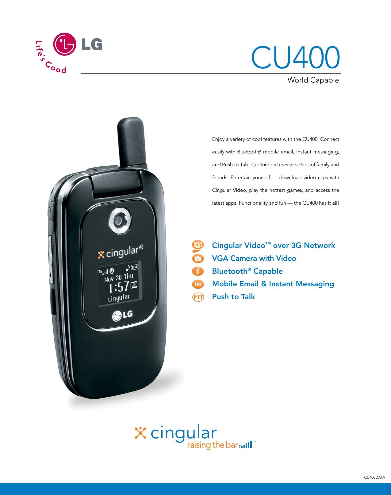 LG CU400 User Manual Data Sheet Datasheet
