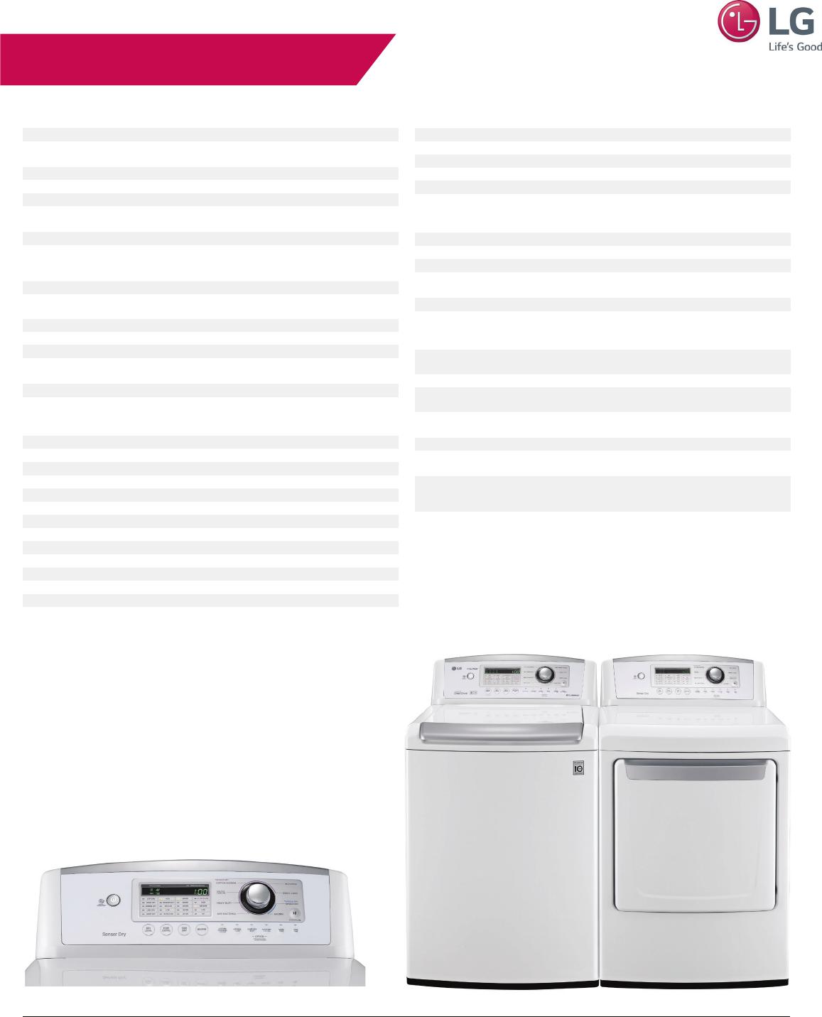 LG DLE4970WE User Manual Specification DLG4971WE Spec Sheet