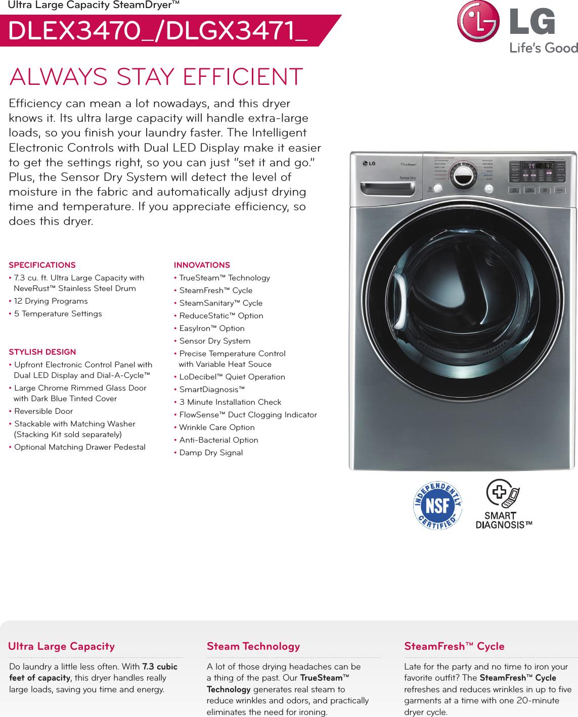 LG DLEX3470W User Manual Specification DLEX3470 DLGX3471 Dryer Spec