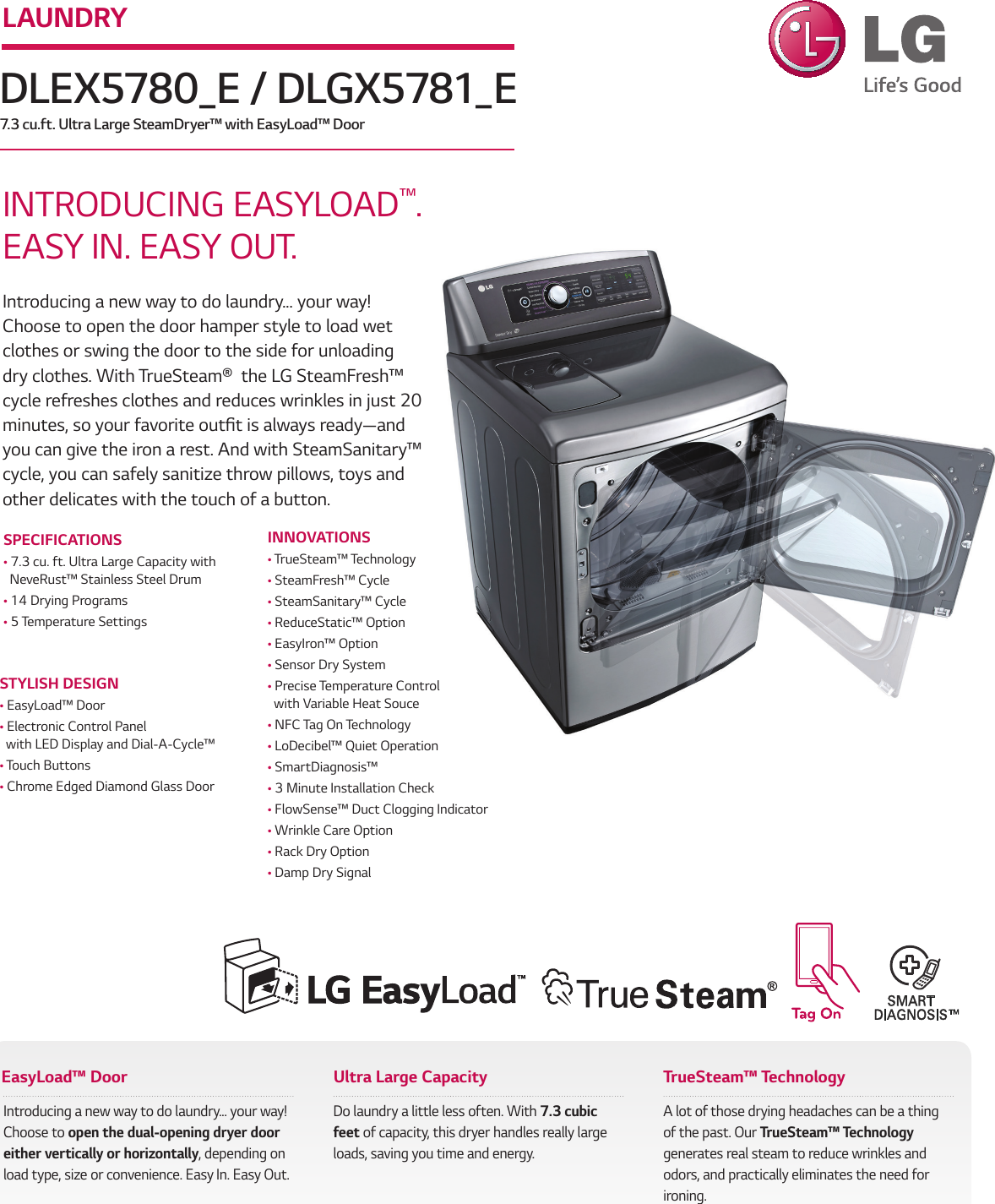 LG DLEX5780WE User Manual Specification DLEX5780 E DLGX5781 Spec Sheet