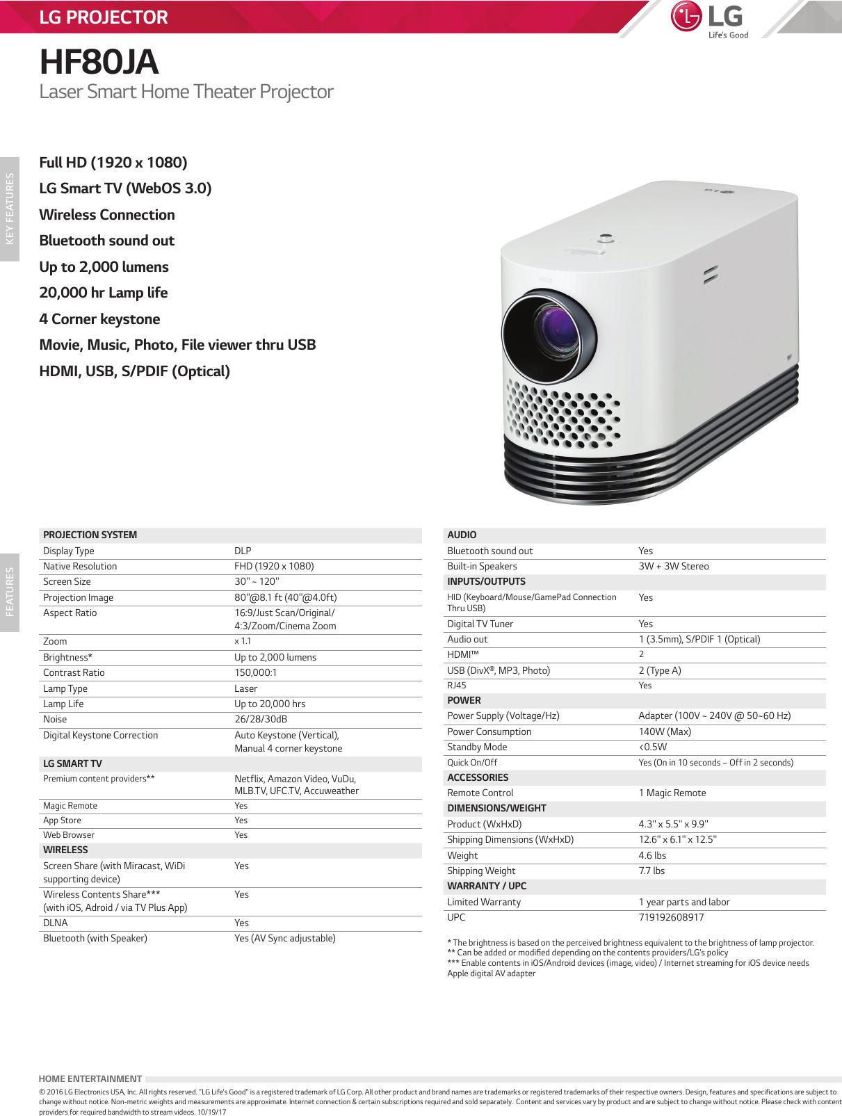 LG HF80JA User Manual Specification Spec Sheet 20171019