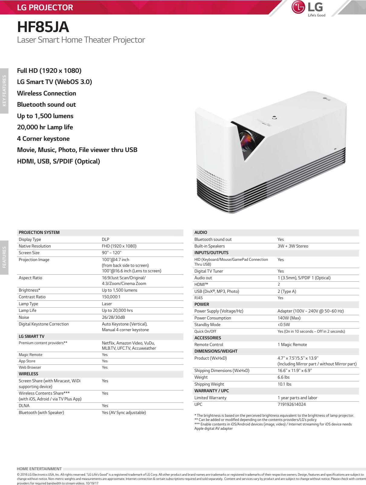 LG HF85JA User Manual Specification Spec Sheet 20171019