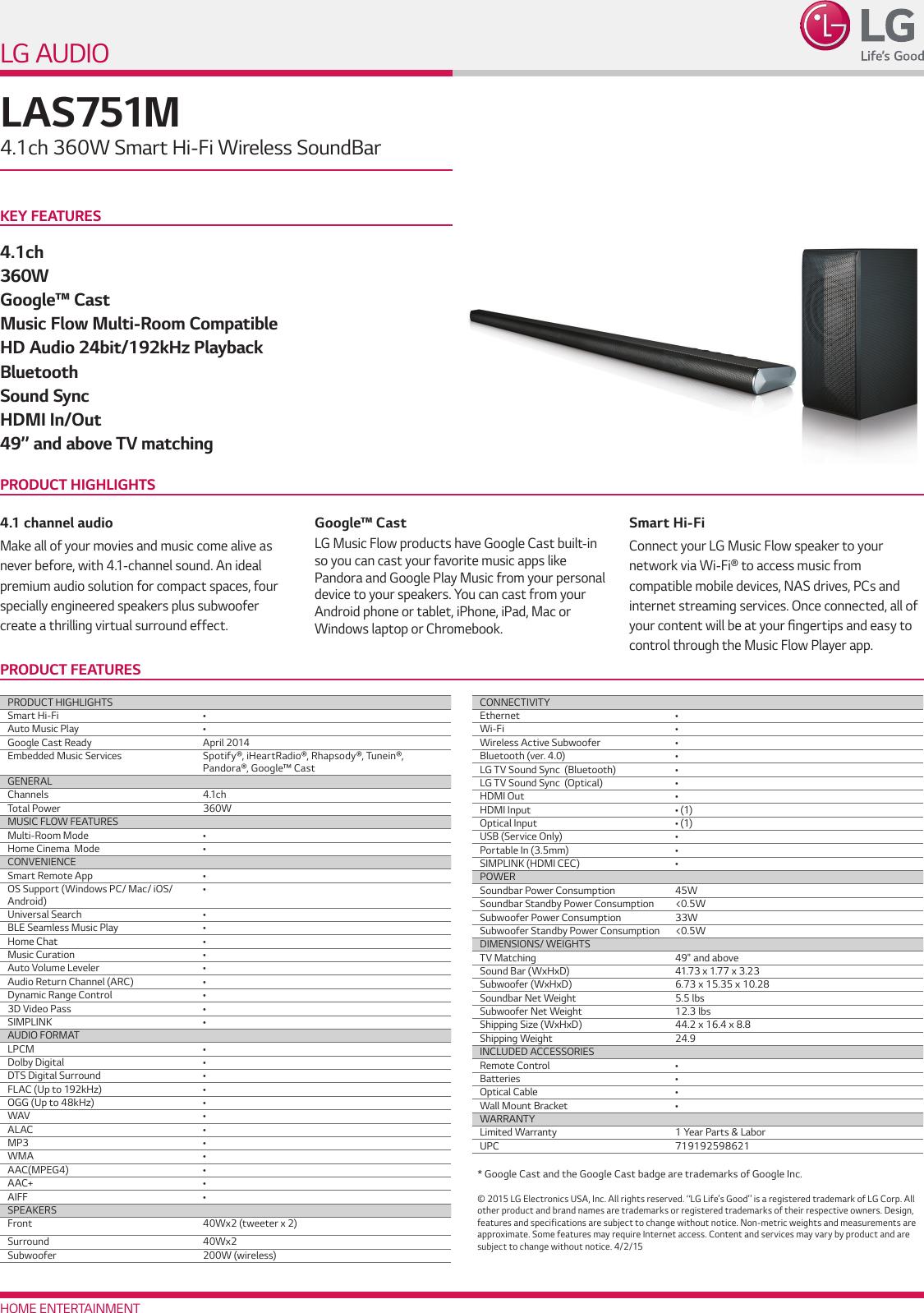 LG LAS751M User Manual Specification Spec Sheet