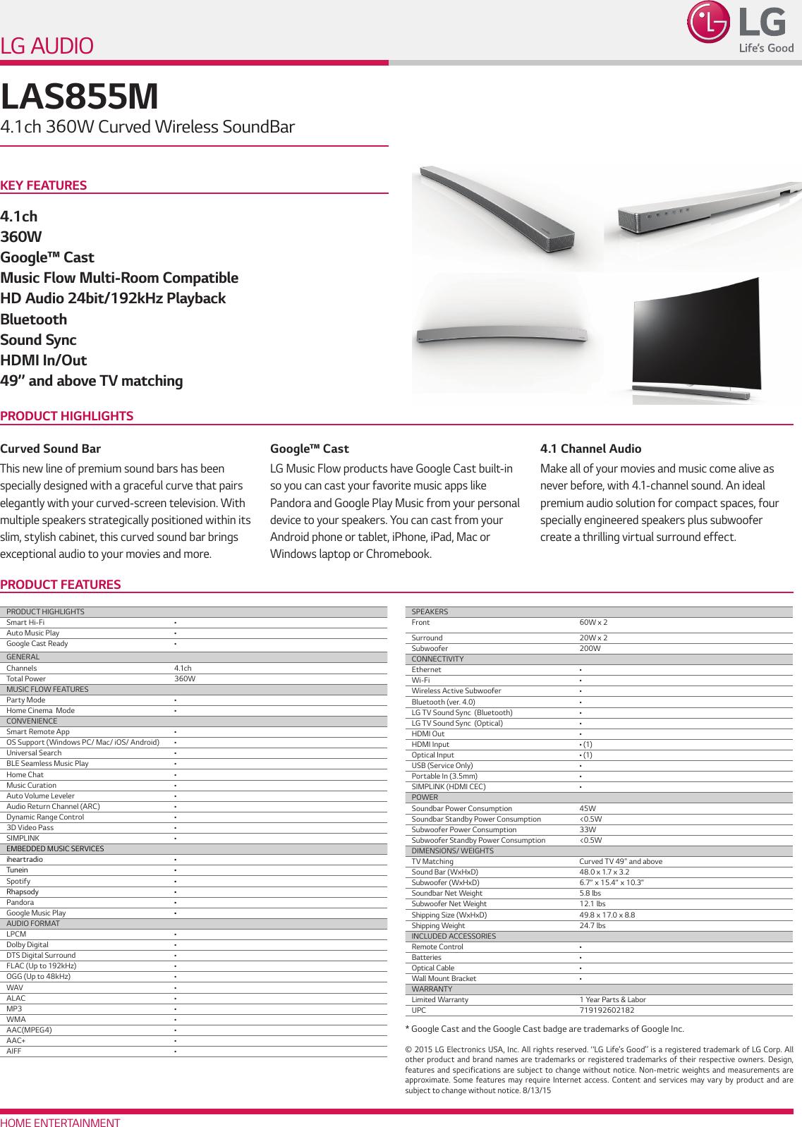 LG LAS855M User Manual Specification Spec Sheet
