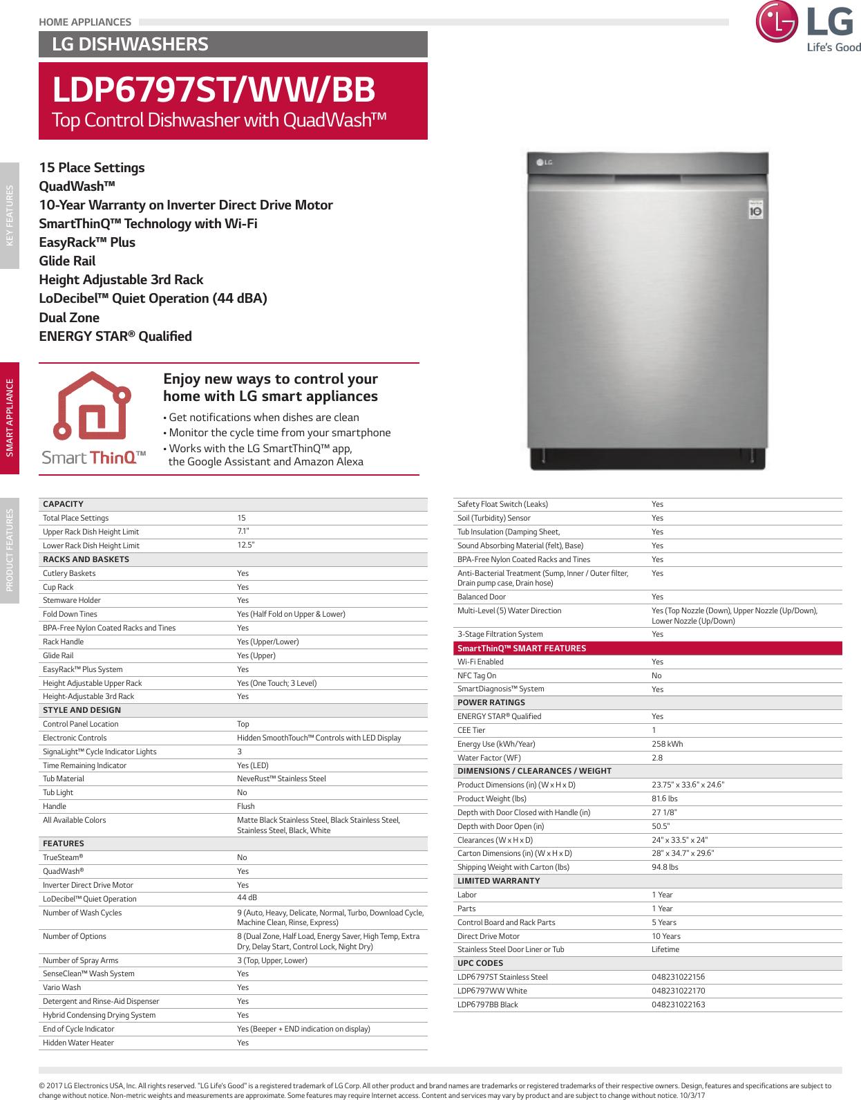LG LDP6797BB User Manual Specification LDP6797 Spec Sheet
