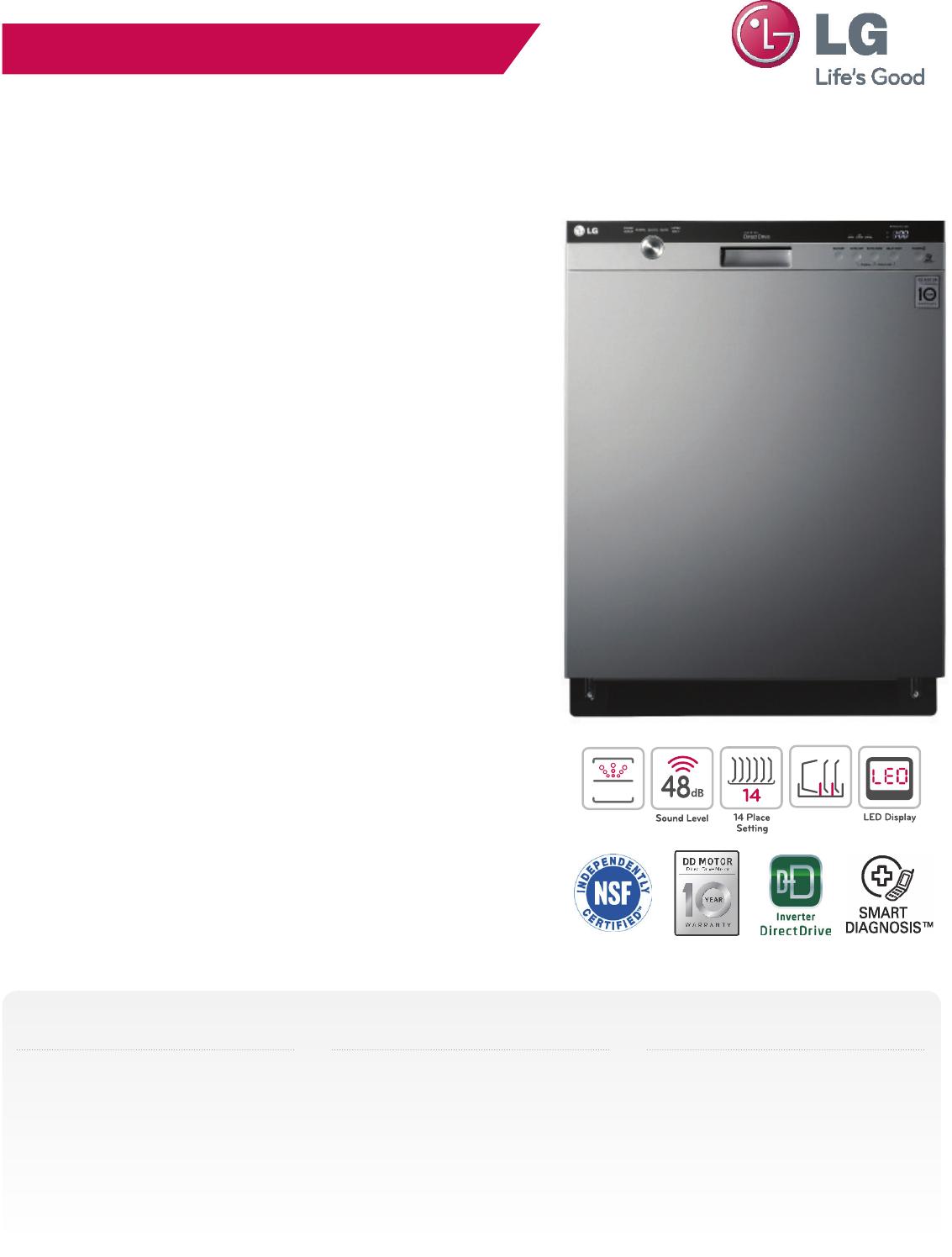 LG LDS5540BB User Manual Specification LDS5540 Spec Sheet