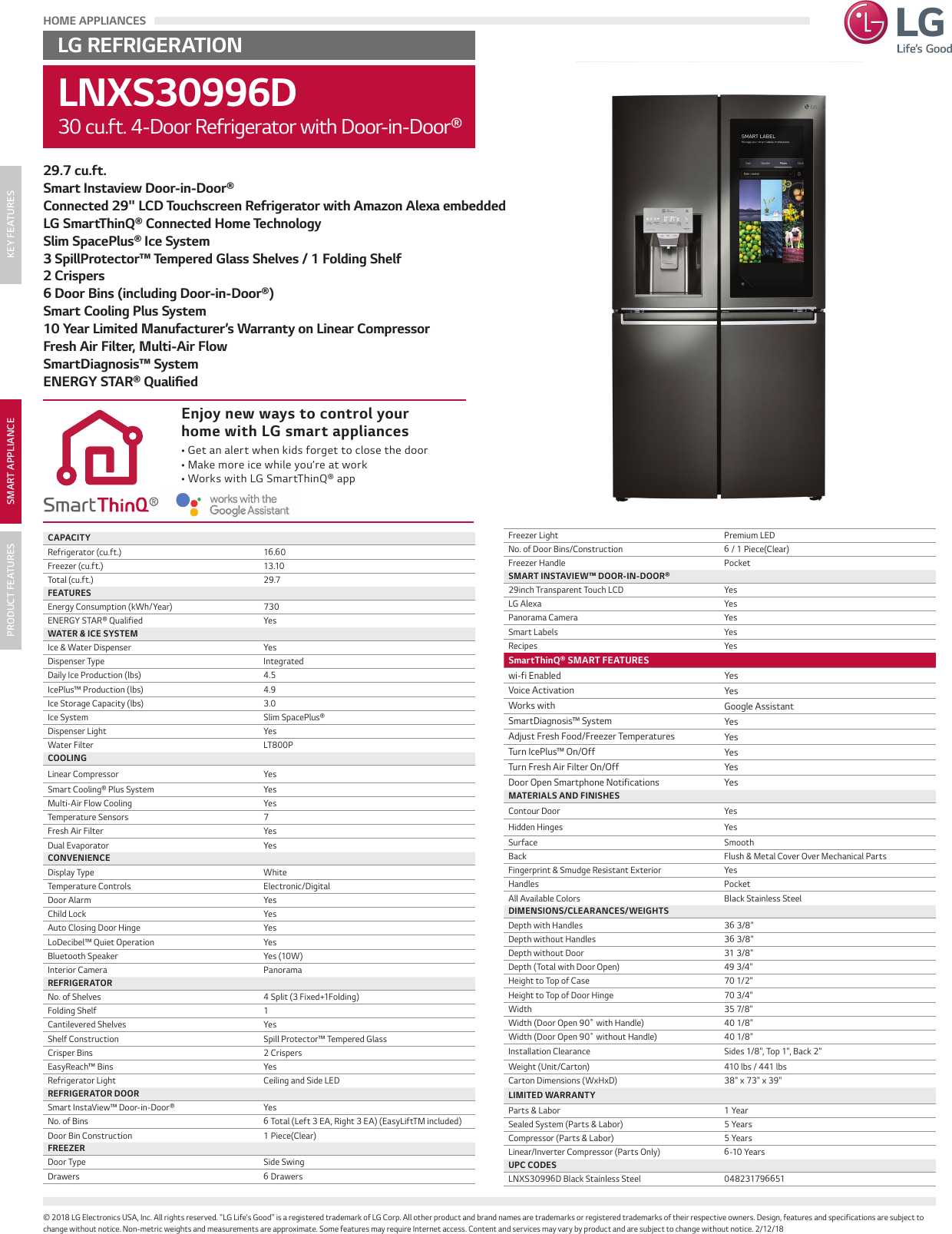LG LNXS30996D User Manual Specification Spec Sheet