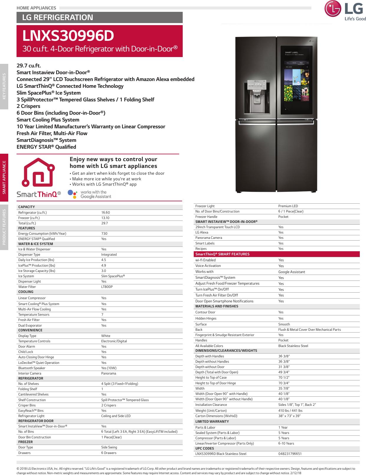LG LNXS30996D User Manual Specification Spec Sheet