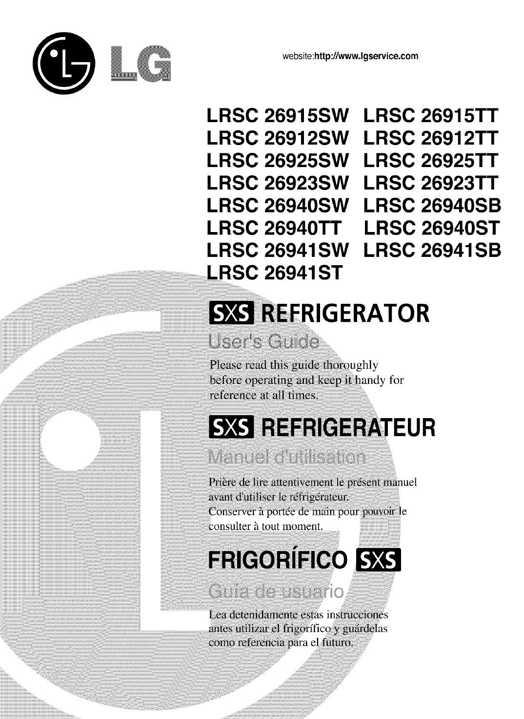 Lg Lrsc26912sw User Manual Refrigerator Manuals And Guides L0521425 Schematics