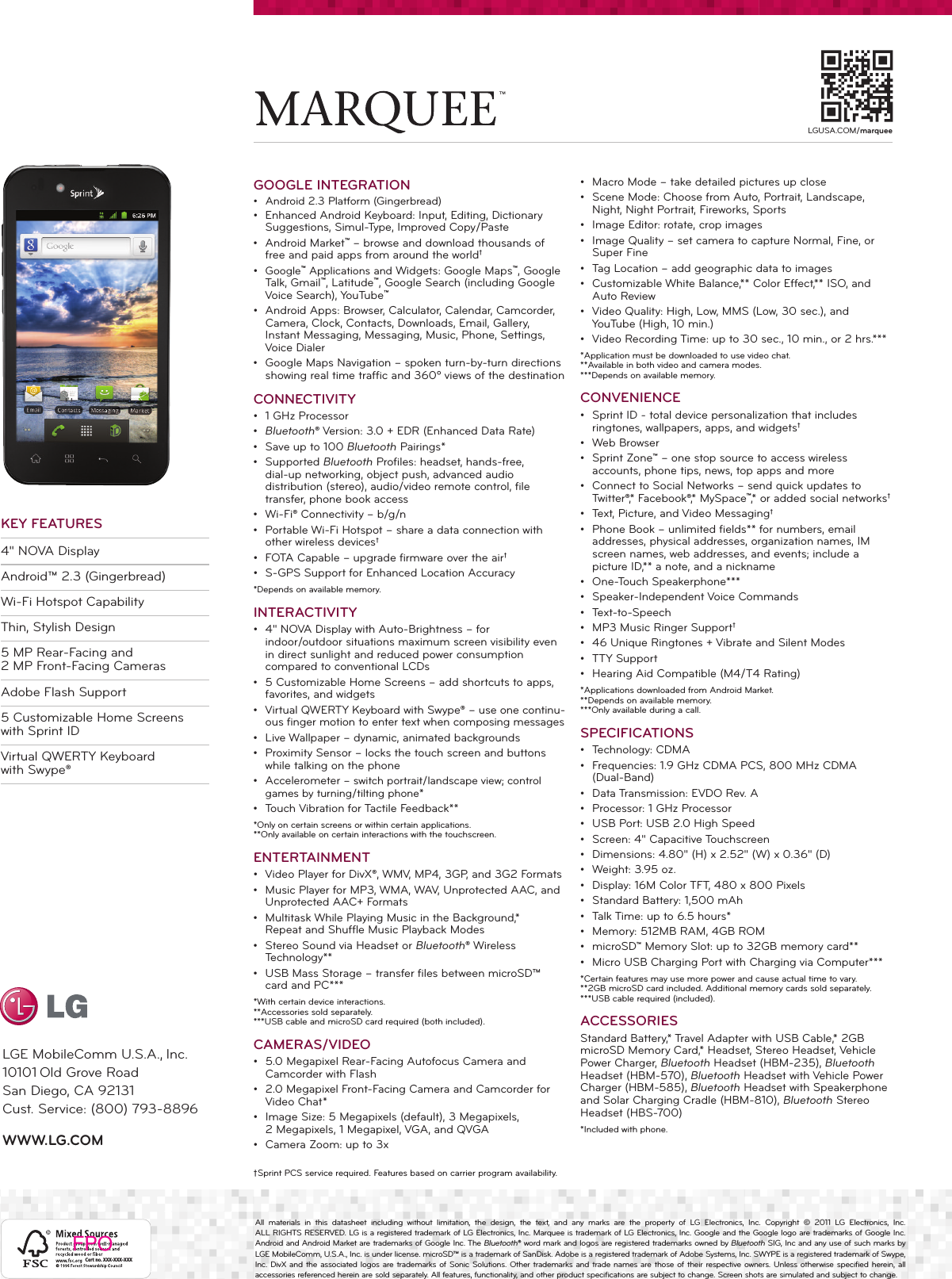 Page 2 of 2 - LG LS855 Datasheet_G_Slate_LG User Manual Data Sheet  Datasheet Marquee