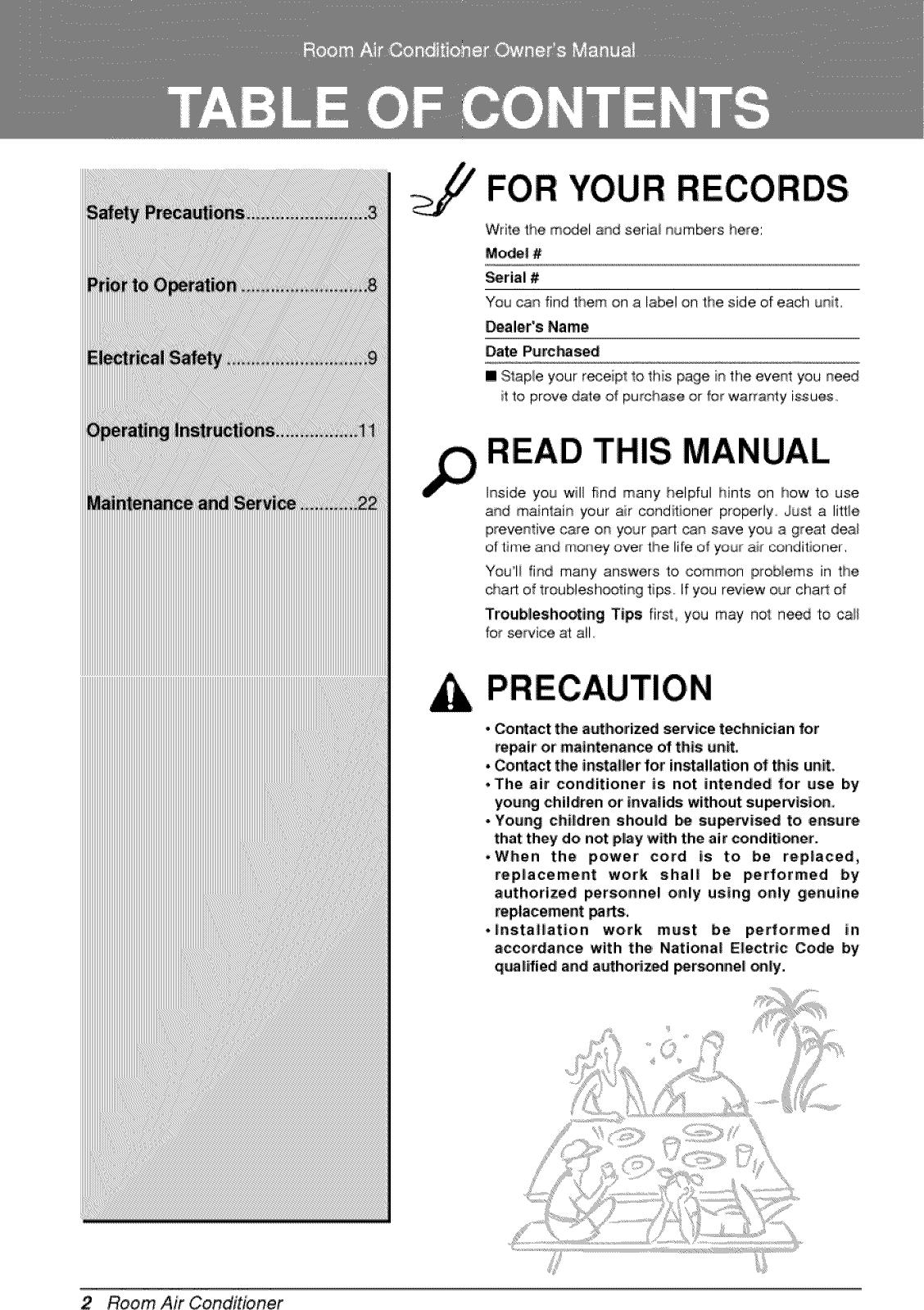 LG LSC091PMA User Manual ROOM A/C Manuals And Guides 1006355L