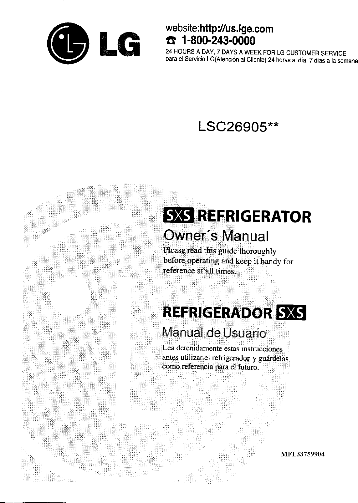 Lg Lsc26905sb User Manual Refrigerator Manuals And Guides Lr708065 Refrigerators Fuse Box