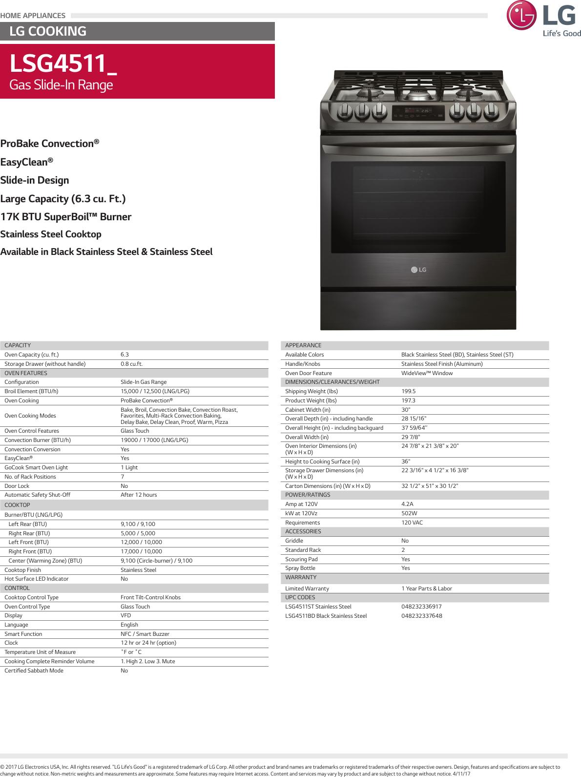 LG LSG4511ST User Manual Specification LSG4511 Spec Sheet