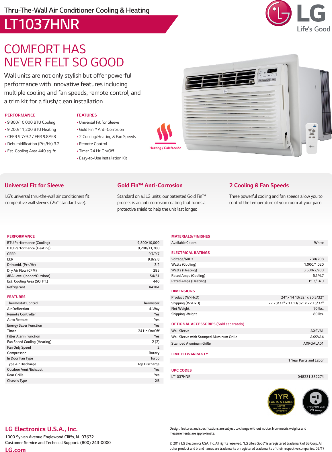 LG LT1037HNR User Manual Specification REV2 2017 Spec Sheet