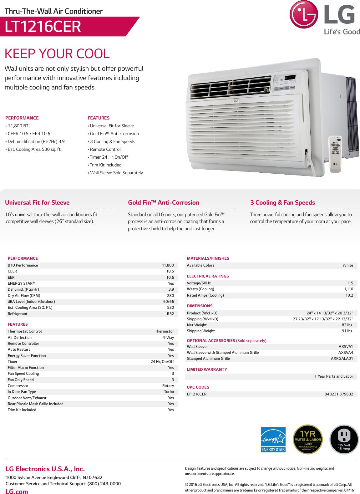 LG LT1216CER User Manual Specification Spec Sheet