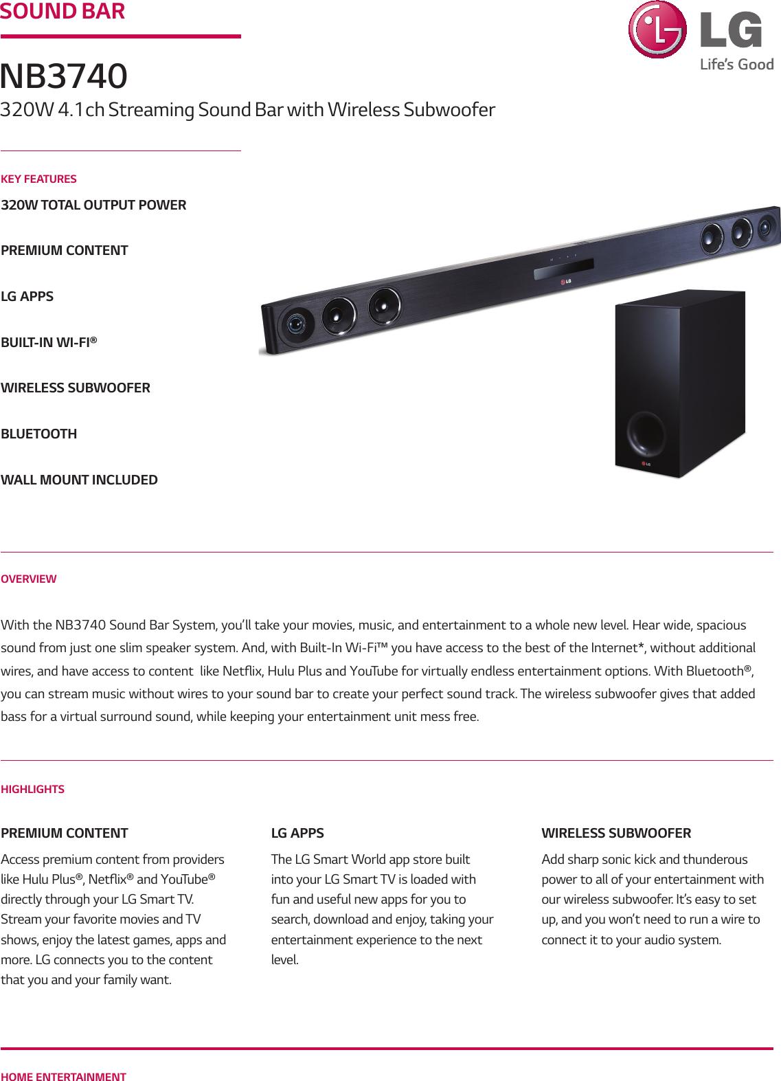 LG NB3740 User Manual Specification Spec Sheet