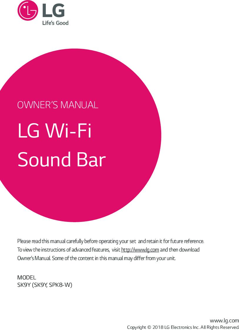 LG SK9Y User Manual Owner's SK9Y DUSALLK (Web) V2 ENG