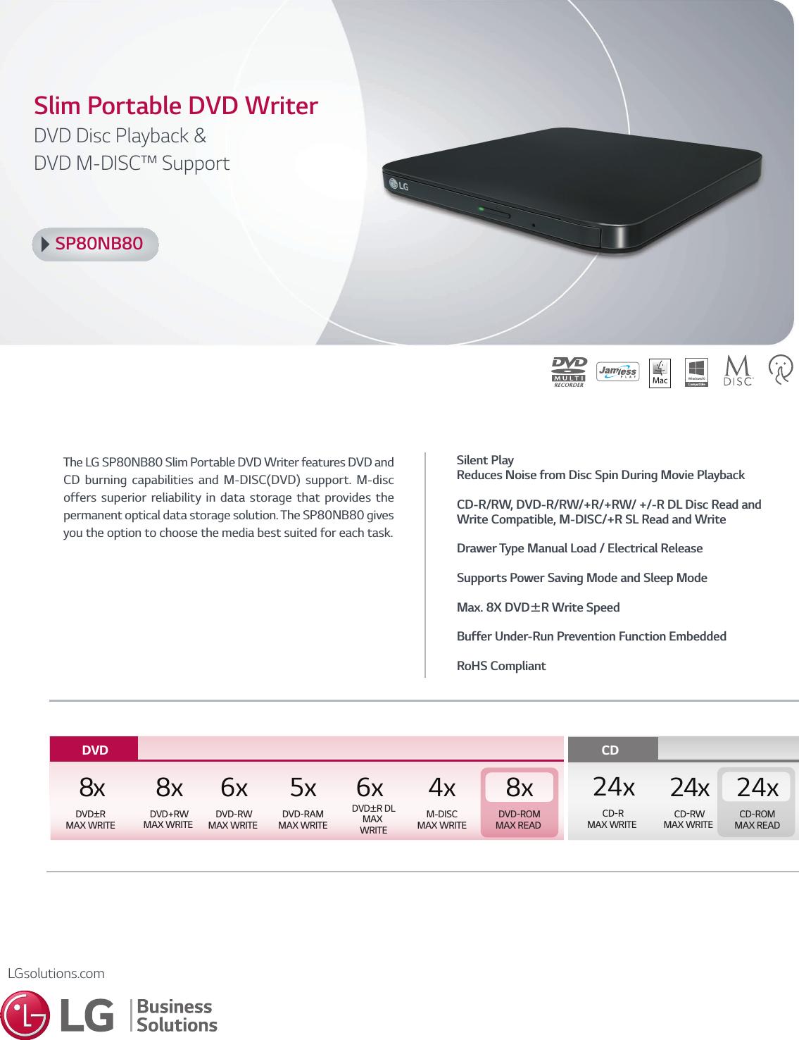 LG SP80NB80 User Manual Specification SPEC 111608 PR