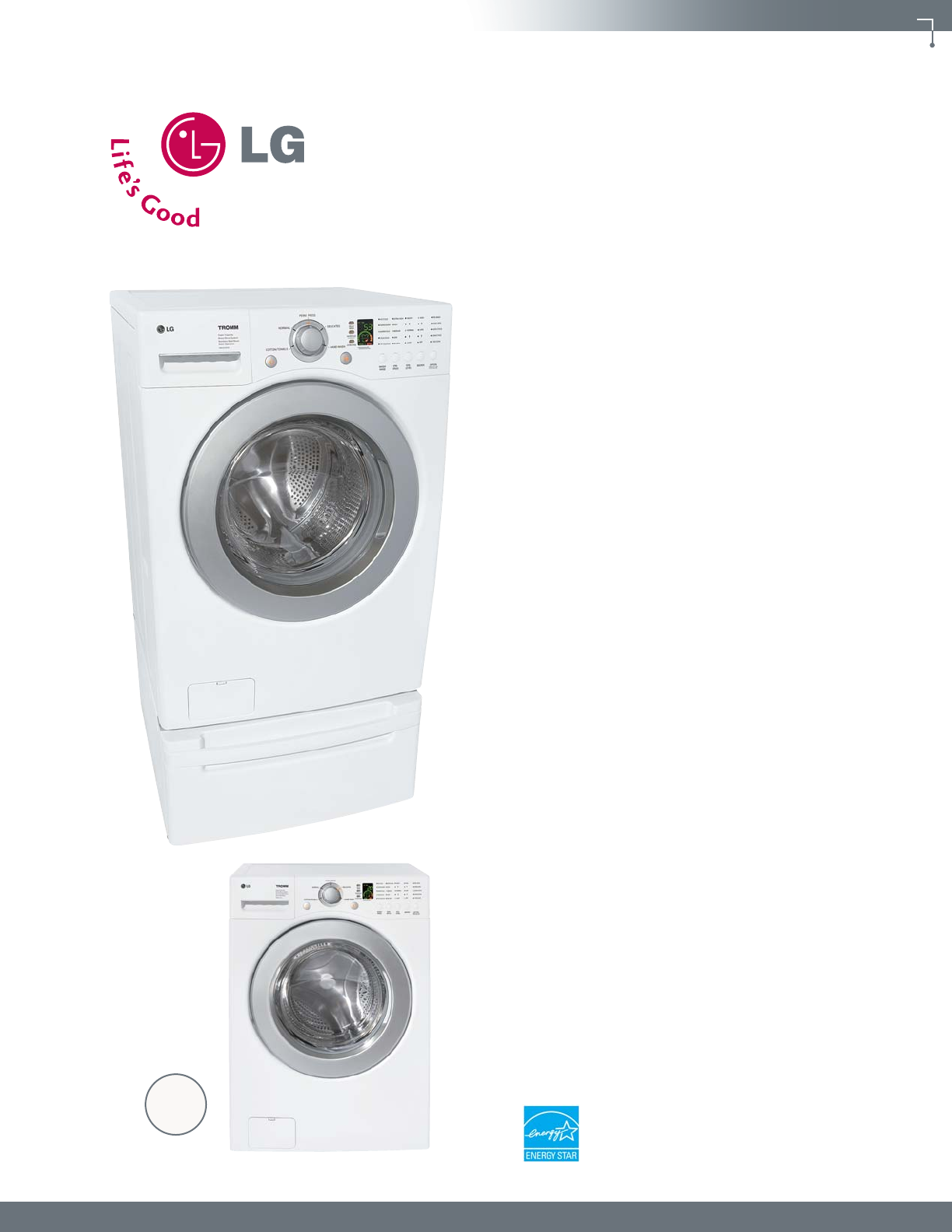lg wm2016cw 20370 wm2016c spec sheet user manual specification wm2016css rh usermanual wiki LG Tromm Front Load Washer LG Washing Machine Service Manual